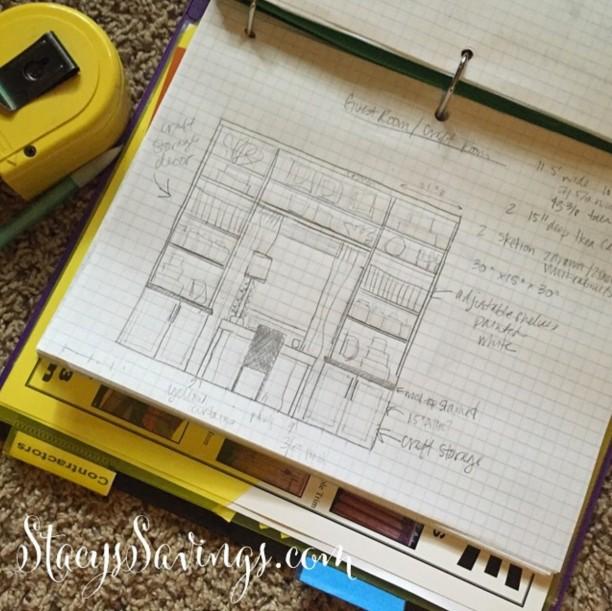 craft room built ins sketch