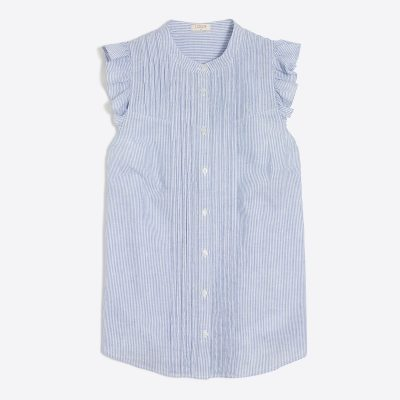 j crew factory sleeveless stripe ruffle top