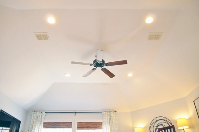 Playroom Phase 1 Makeover Lighting Updates. Recessed LED lighting with a $50 Home Depot Walnut & Iron ceiling fan for a modern, minimalist look.