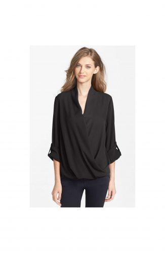 pleione faux wrap blouse