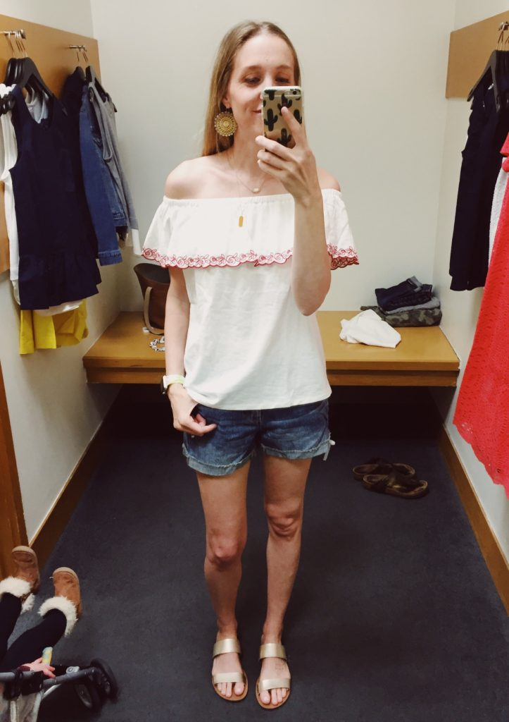 J.Crew Factory Off The Shoulder Tee. See all of the cute things I found at my local J.Crew Factory store in March 2018.