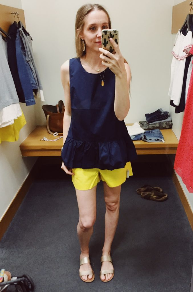 J.Crew Factory Ruffle Shorts and Peplum bow back top. See all of the cute things I found at my local J.Crew Factory store in March 2018.