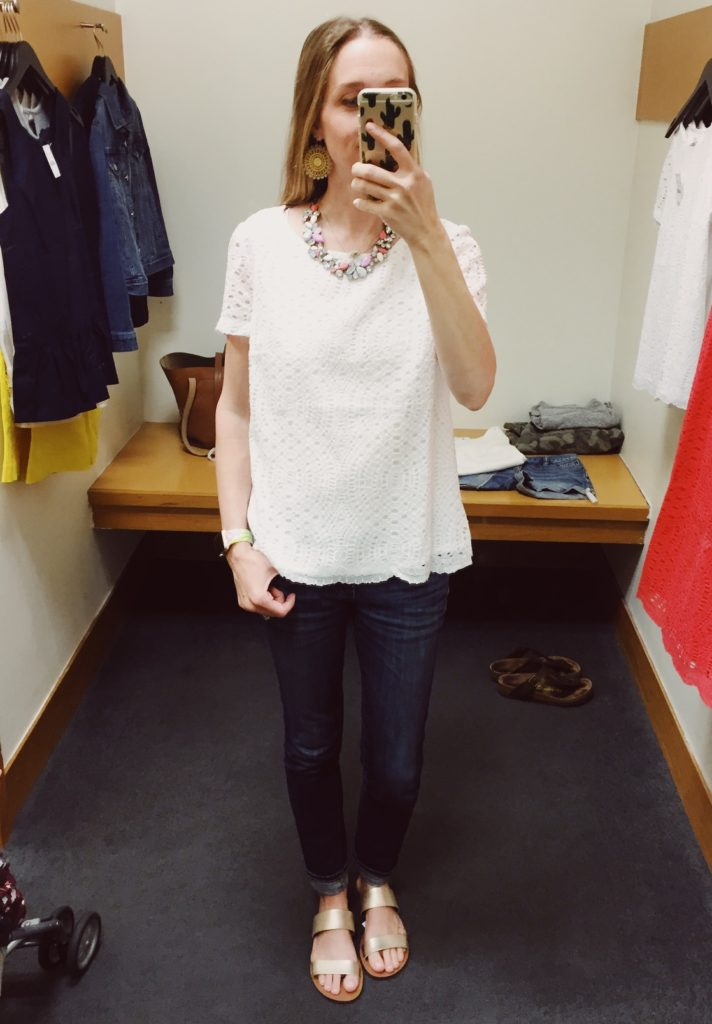 J.Crew Factory Lace Tee. See all of the cute things I found at my local J.Crew Factory store in March 2018.