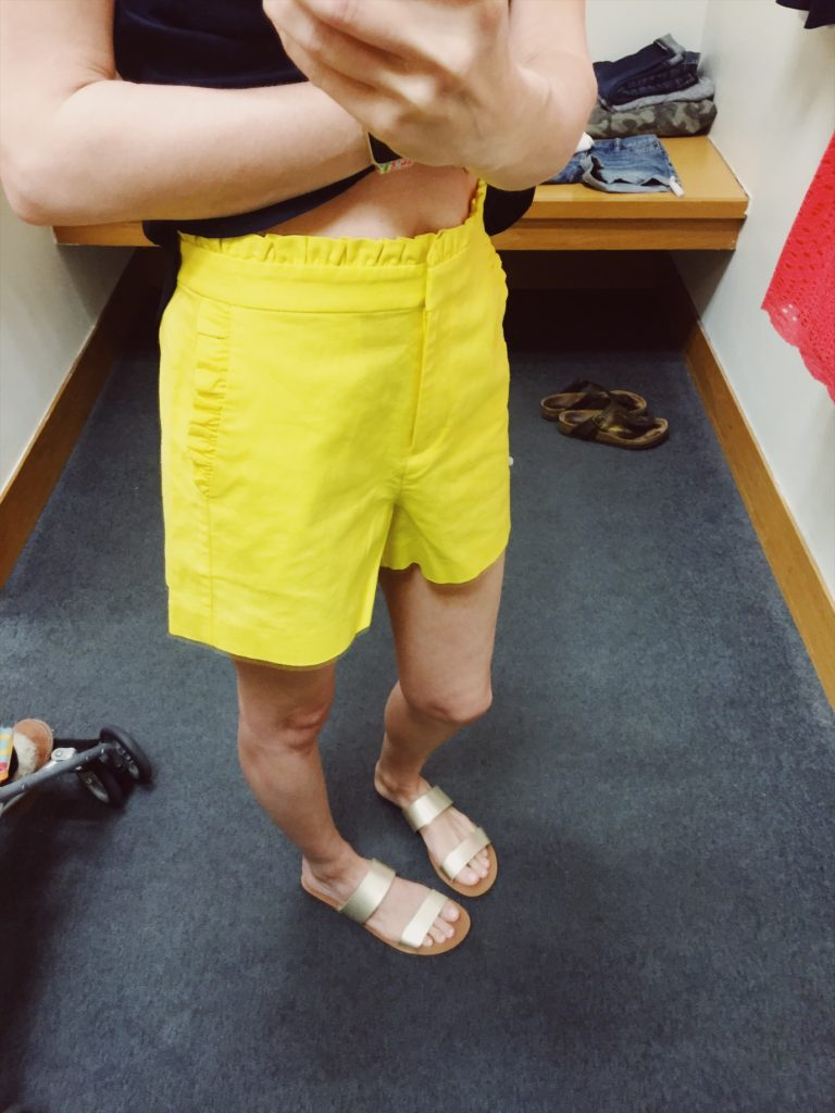 J.Crew Factory Yellow Ruffle Shorts. See all of the cute things I found at my local J.Crew Factory store in March 2018.