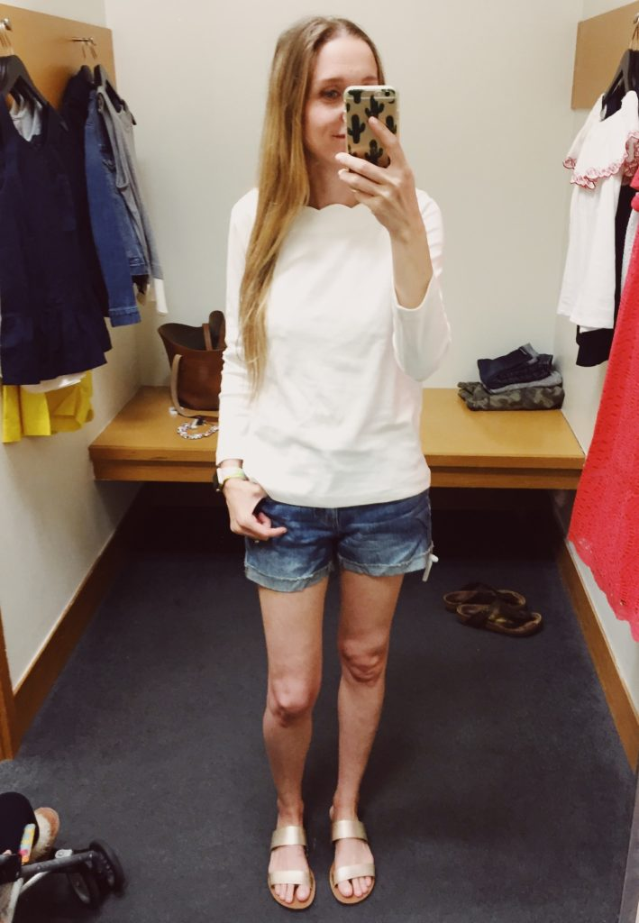 J.Crew Factory Scallop Tee and Denim Shorts. See all of the cute things I found at my local J.Crew Factory store in March 2018.
