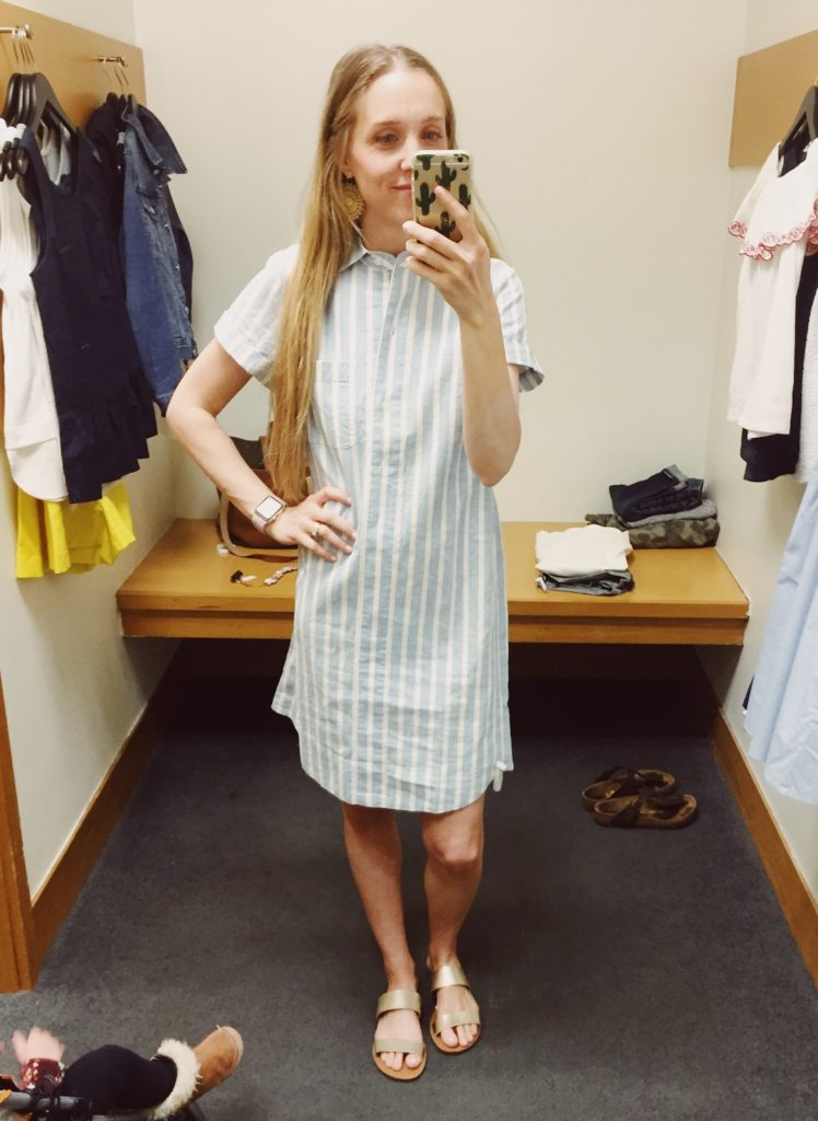J.Crew Factory Striped Linen Shirt Dress. See all of the cute things I found at my local J.Crew Factory store in March 2018.