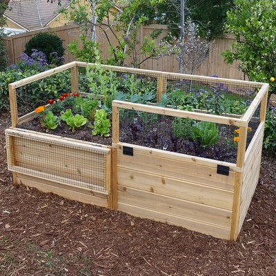 wayfair raised garden bed with hinged gates. This was the inspiration for my raised garden bed.