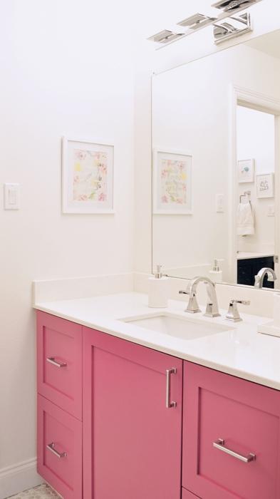 DIY Jack & Jill Bathroom Remodel for $6,000. IKEA Kitchen Cabinet Hack. Pink Vanity