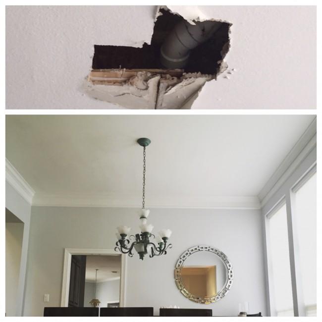 Dining Room Ceiling Leak Fix