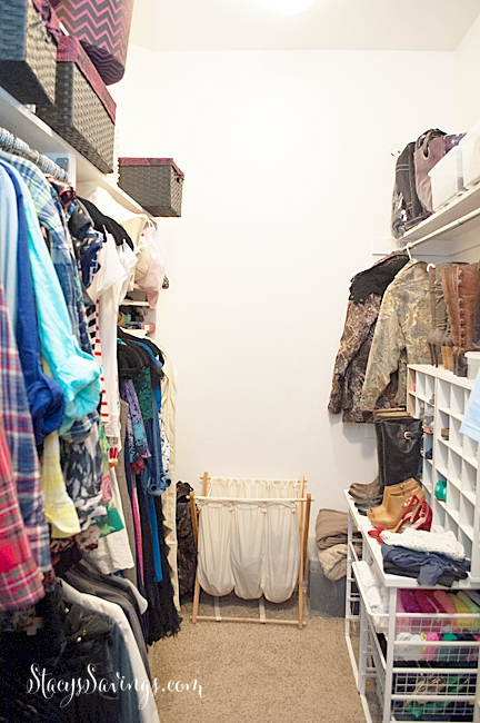 Master Closet Before. See how I totally transformed my master closet from builder-grade boring to a custom dream closet for less than $2,000!