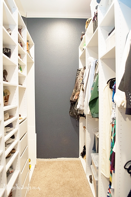Master Closet Renovation In Progress. See how I totally transformed my master closet from builder-grade boring to a custom dream closet for less than $2,000!