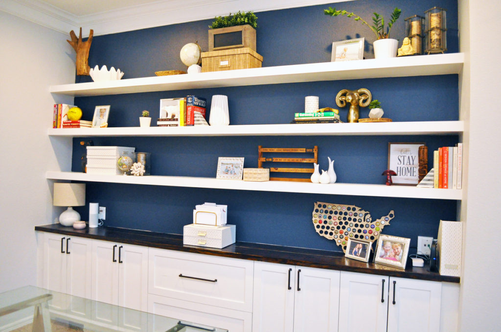 How I built Wall-to-Wall Floating Shelves in our Home Office for $200.