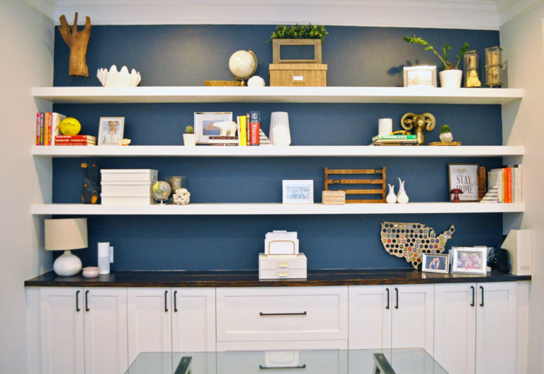 How I Built Wall-to-Wall Floating Shelves By Myself for $200