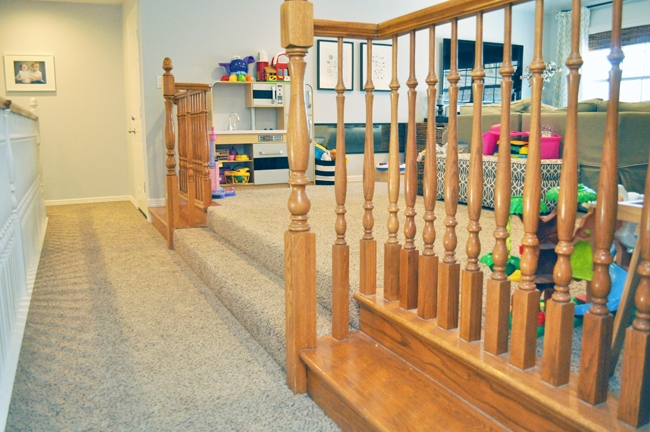 Playroom Phase 1 Makeover Railing & Spindles. Will be removed and replaced with built in pony-wall bookshelves with a wood countertop in 2018.