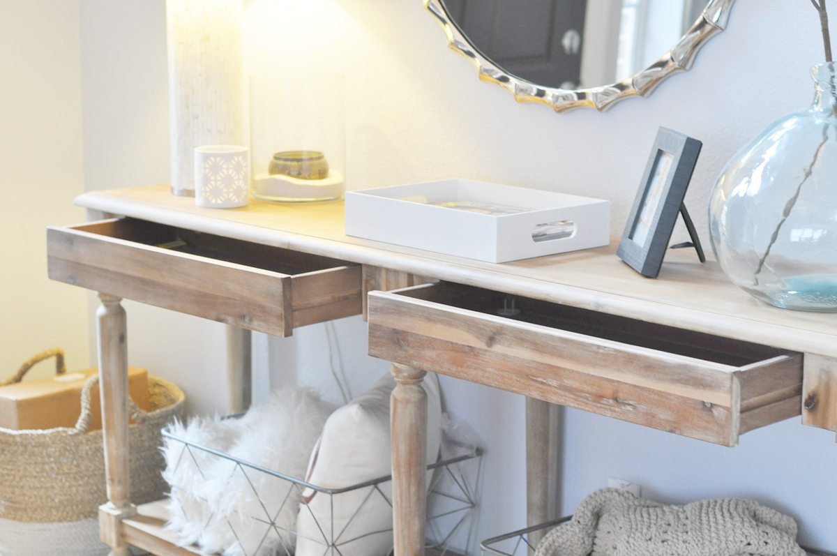 My Favorite Thing About This Table Are The Two Storage Drawers! Theyu0027re  Hidden (and Currently Empty), But Iu0027ve Seen Many Bloggers Easily Customize  Them With ...
