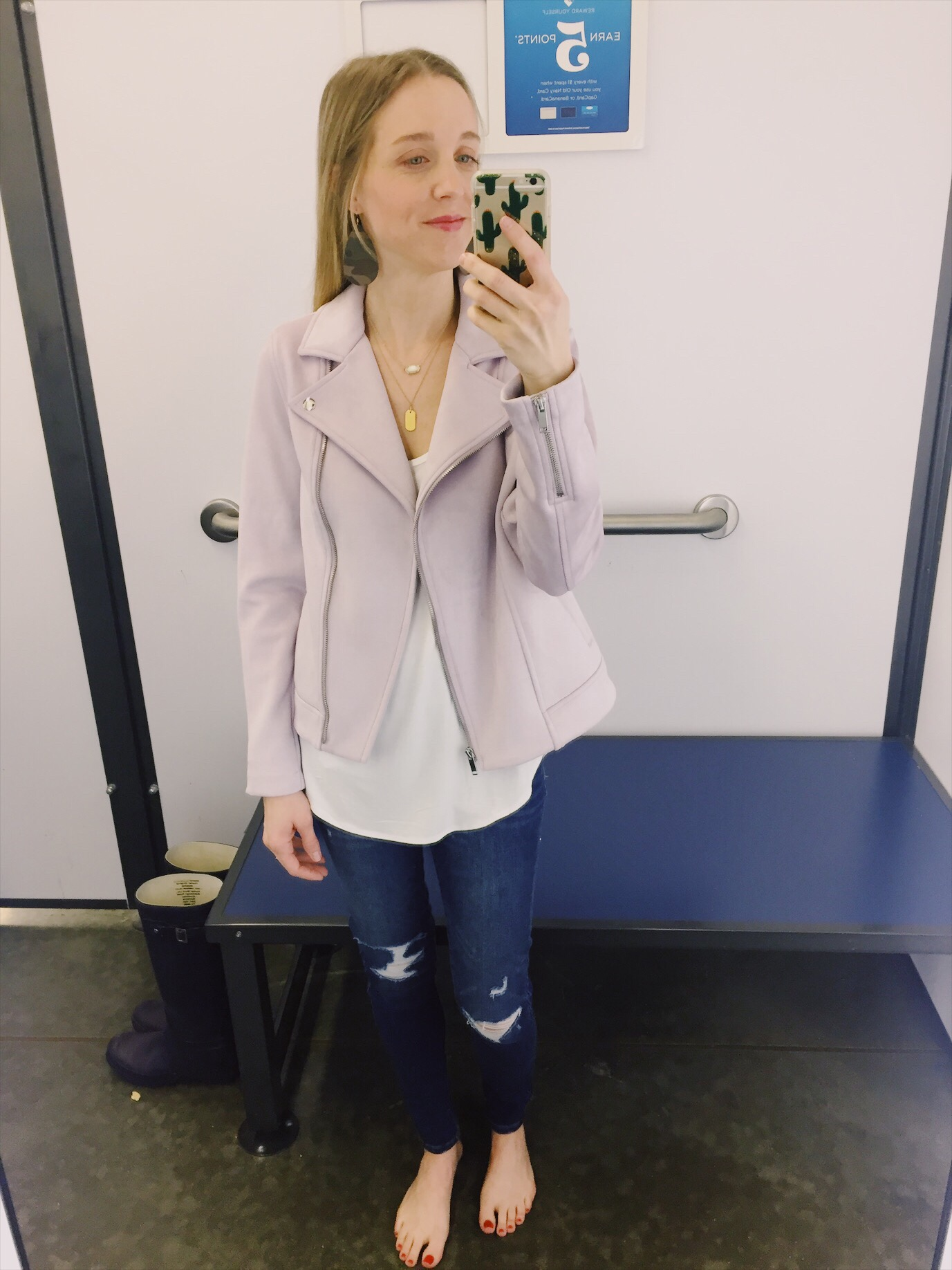 8d98304a1df This lilac sueded knit moto jacket was really cute on the hanger