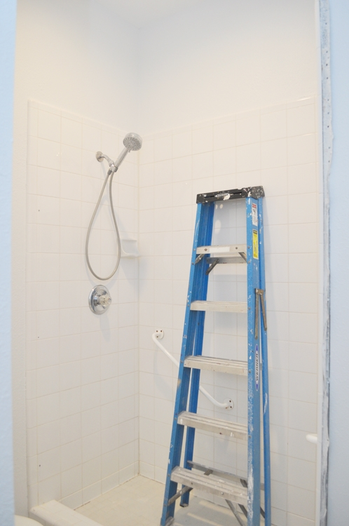 Guest Bathroom Makeover. Outdated Brass Shower Door Removed & walls painted white.