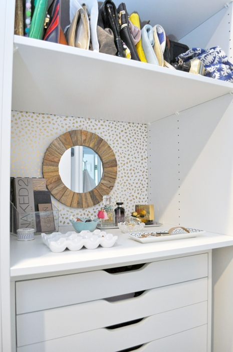 See how I transformed this little dumping ground in my closet into a cute and stylish vanity with Target Peel & Stick Wallpaper!