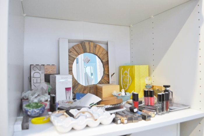 See how I transformed this little dumping ground in my closet into a cute and stylish vanity!
