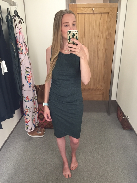 Nordstrom Leith Ruched Tank Dress. I went to Nordstrom over Memorial Day Weekend to try on Summer dresses from my wish list!