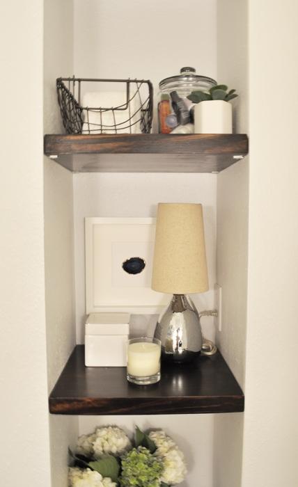 Guest Bathroom Remodel DIY Floating Built In Shelves