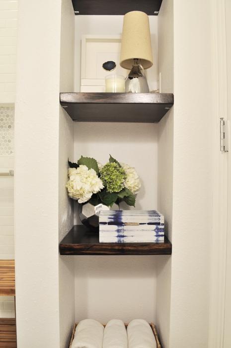 Guest Bathroom Remodel DIY Built In Floating Shelves