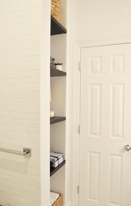 Guest Bathroom Remodel DIY Built In Shelves.