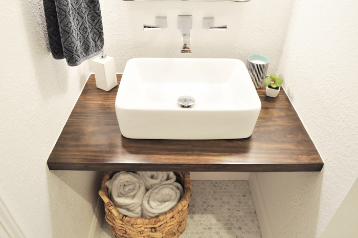 See my $15 DIY Floating vanity! Guest Bathroom Remodel. Disability Friendly. ADA Design.