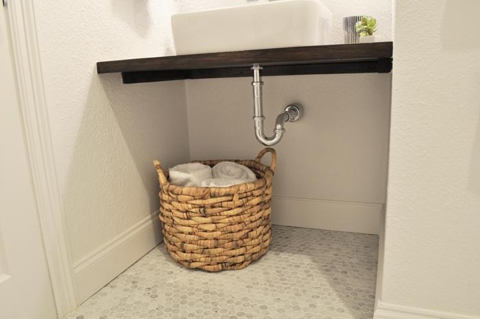 Wheelchair Friendly Guest Bathroom Remodel. DIY Floating Wood Vanity with Vessel Sink. Chrome Plumbing.