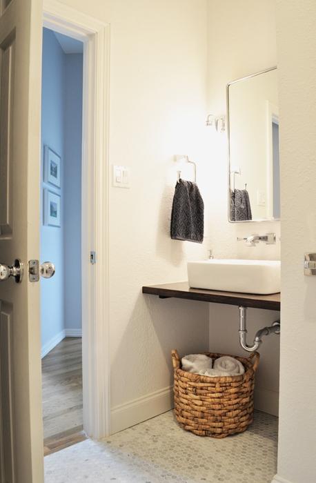 DIY Guest Bathroom Remodel Floating Vanity And Vessel Sink.