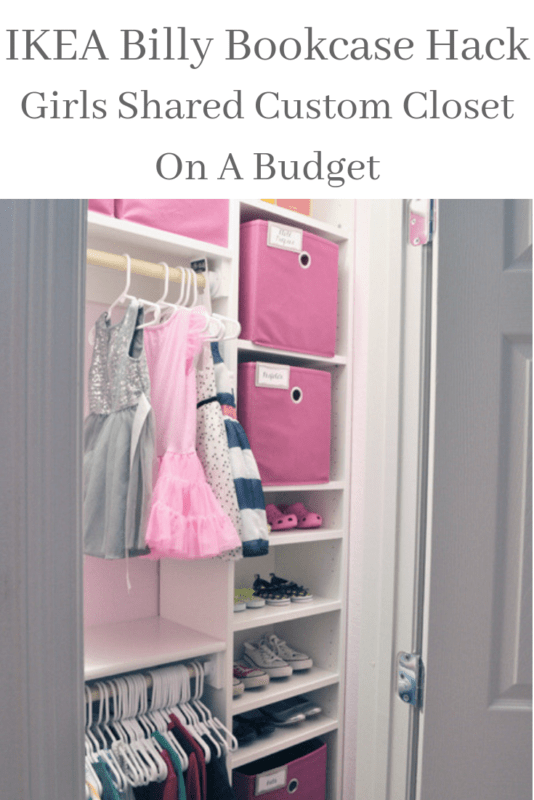 Shared Girls Custom Closet IKEA Hack. See how I used a simple Billy bookcase to transform a bland closet into a fun shared space for two little girls!