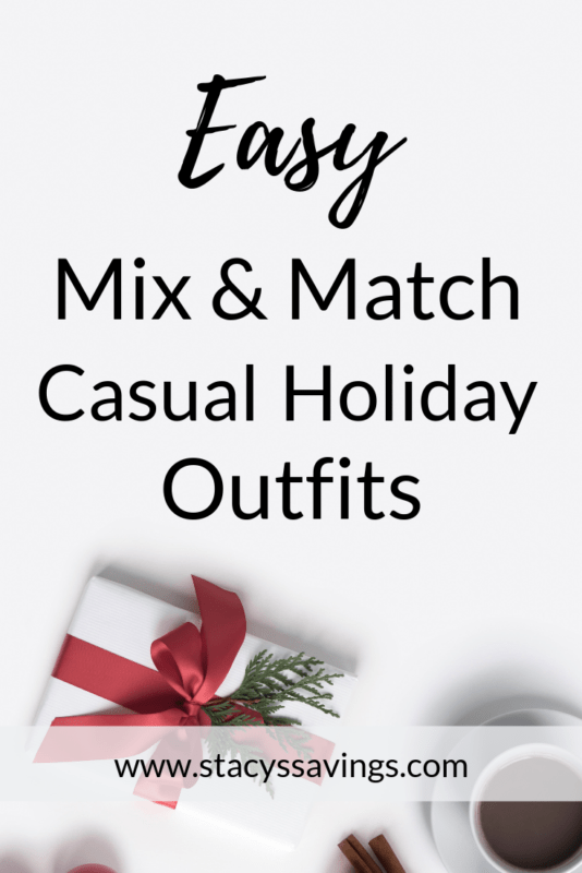 Easy Mix & Match Casual Holiday Outfits for any mom!  Stay festive all year with just a few pieces!