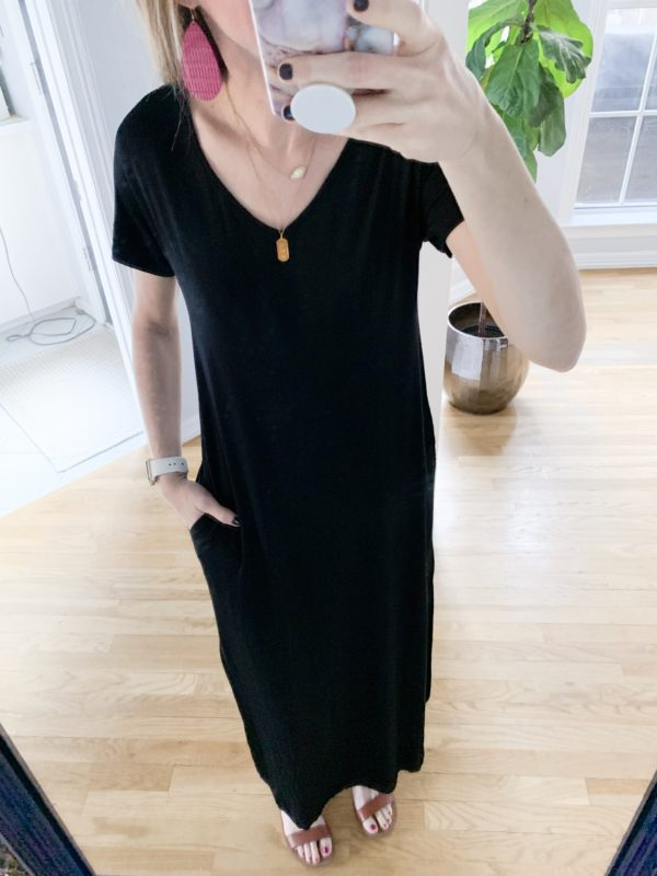 I shopped Amazon for some new clothes and found a bunch of great items at an even better price!  This black maxi dress is perfect for travel and being a mom!