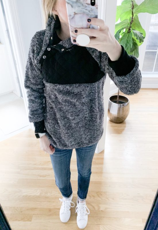 I found some awesome deals on winter fashions at Amazon! See everything I bought and how much it was on the blog! This look for less Sherpa is perfect for Winter!