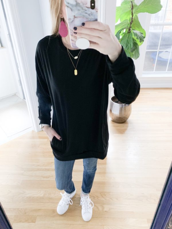 I found some awesome deals on winter fashions at Amazon! See everything I bought and how much it was on the blog! This long sleeve tee tunic with pockets is a great basic!
