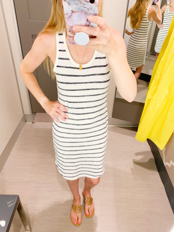 See what I tried on and purchased in my Mini Target Haul for June 2019! This Navy striped knit dress was so cute, I actually paid full price!