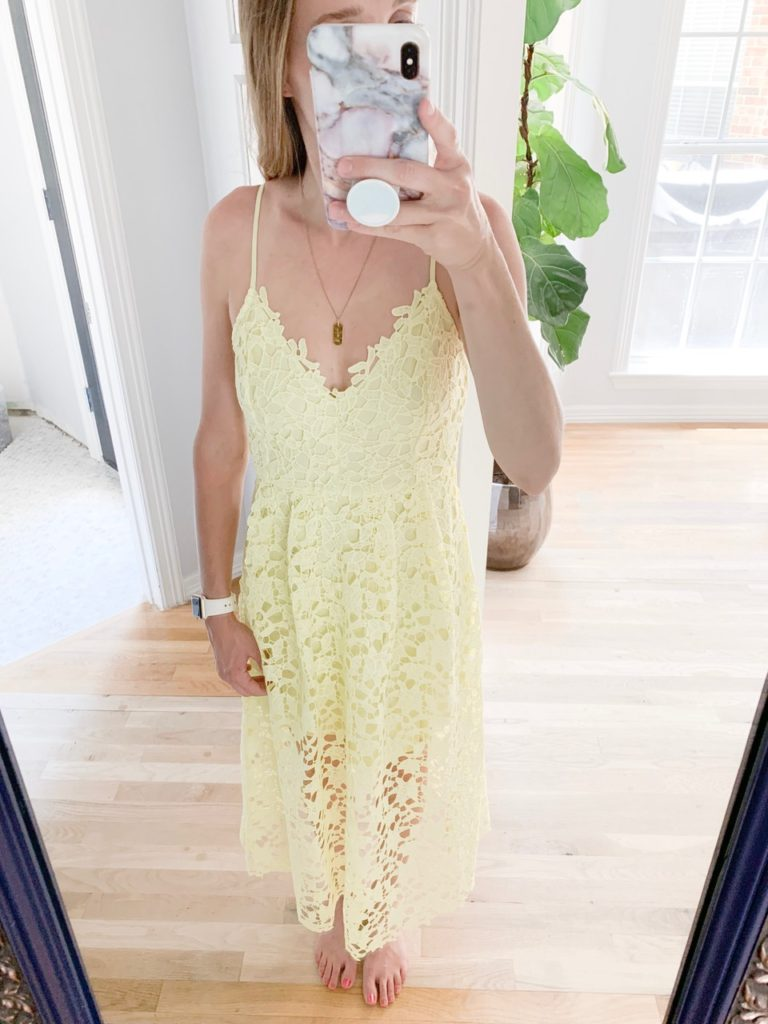 See everything I bought at this year's Nordstrom Anniversary Sale, including this astr the label lace midi dress lemon. What I got, what I thought, what I kept, and what's going back.