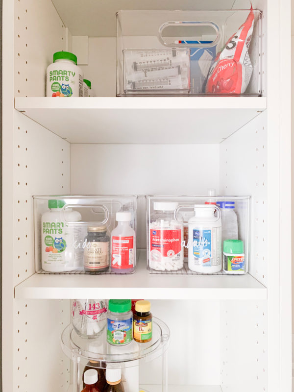 See how I organized our new medicine cabinet in the kitchen with one trip to The Container Store!